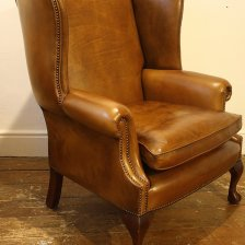 Wide Georgian Leather Wing Chair with Claw & Ball Legs