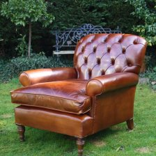 Buttoned Back Antique Leather Club Chair