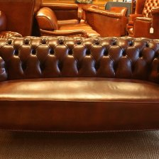 Stuffover Seat Buttoned Back Antique Leather Chesterfield