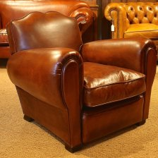 French 1930s Moustache Leather Chair