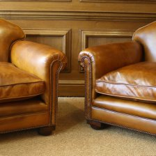 1920s Restored Leather Antique Chairs