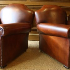 Deco Period Leather Club Chairs