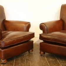 Pair of Traditional Leather Club Chairs