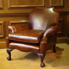 Carved Leg Elegant Leather Antique Armchair