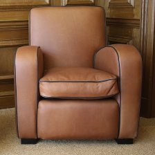 Odeon Leather Chair with Black Contrast Piping