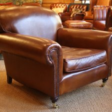 Vintage Leather Full Scroll Arm Lansdown Chair