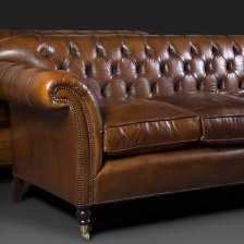 Buttoned Three Seater Ibsen Sofa in Leather