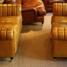 Fluted Leather Traditional Chesterfields
