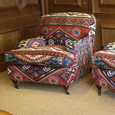Pair of Semi-Antique Kilim Lansdown Chairs