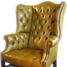 The Special High Back Georgian Leather Wing Chair with Straight Legs