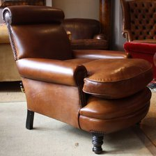 Edwardian Roll Top Leather Armchair