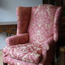 Georgian Wing Chair in Gainsborough Silk with Straight Legs
