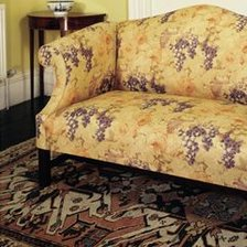 Two-Seater Camelback Sofa in Fabric