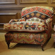 Semi-Antique Kilim Pair of Lansdown Chairs