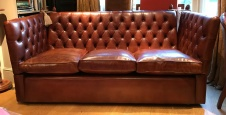 Leather 3-Seater Buttoned Knole Sofa