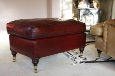 Oxblood Leather Lansdown Stool