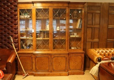 Oak and Walnut Large Breakfront Bookcase