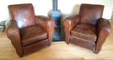Pair of French Antique Leather Chairs