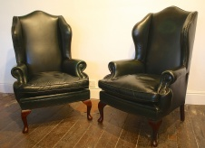 Vintage Queen Anne Leather Wing Chairs