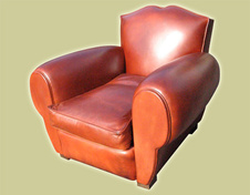 French Moustache Leather Club  Chair