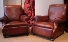 Atworth Pair 19th Century Leather Club Chairs