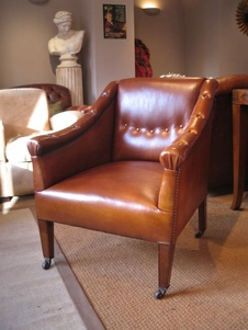 Edwardian Leather Study Chair