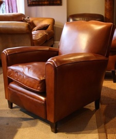 Restored French Leather Chair
