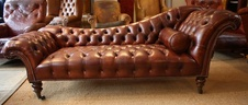Antique Leather Sofa/Chaise