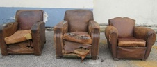 Three French Leather Chairs