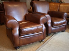 Large Leather Antique Pair of Chairs