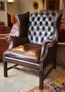20th Century Leather Wing Chair
