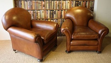 Leather 1920's/30's Classic Tan Pair of Club Chairs