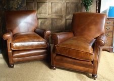 Hand Nailed Leather Club Chairs