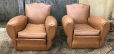Pair of French Leather Moustache/Cigar Arm Chairs