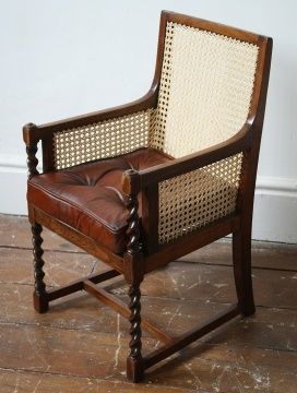 Child's Bergere Chair with Leather Cushion