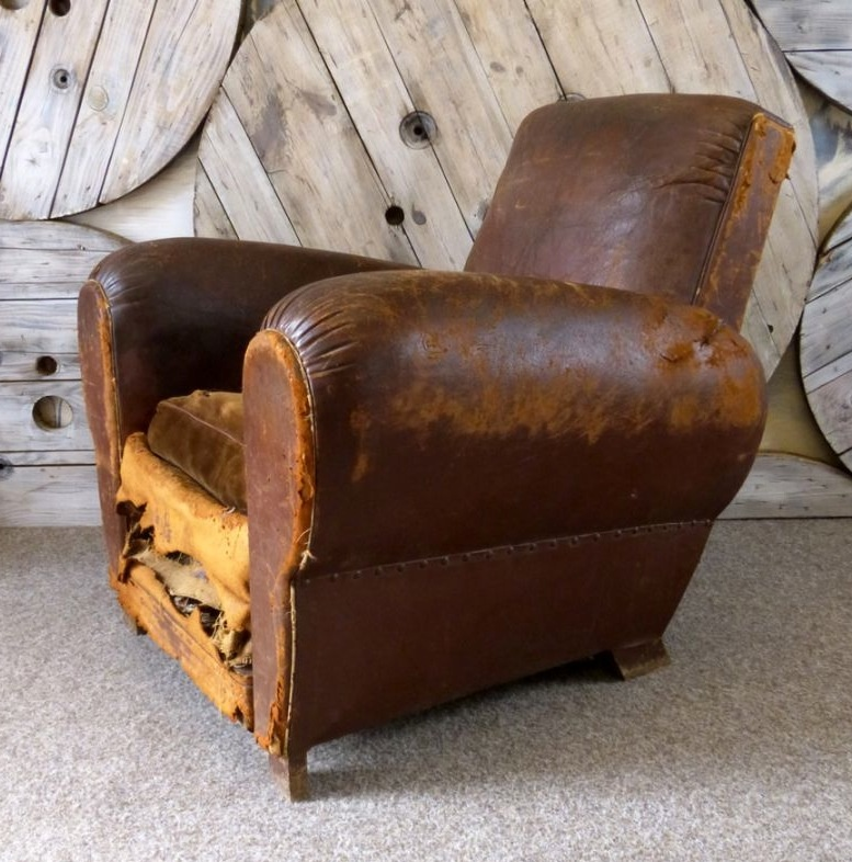 Completely new Antique French Leather Cigar Chair Leather Chairs of Bath Chaise  CD41