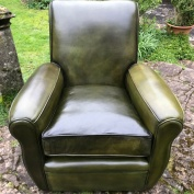 Restored High Back French Leather Club Chair