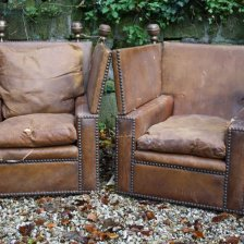 Pair of Antique Leather Knole Chairs