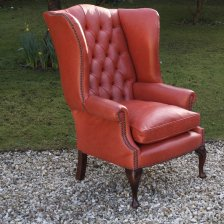 High Back Claw & Ball Leg Georgian Wing Chair in 'Rose' Leather