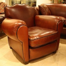 Antique French Leather 'Moustache' Club Chair
