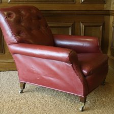 19th Century Red Leather Library Chair