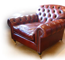 Lansdown Chair in Leather with Buttoned Arms & Back