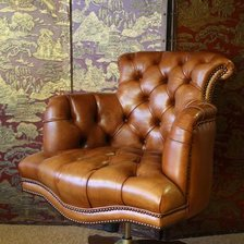 Fully Upholstered Captain's Chair Desk Chair in Leather