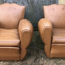 A Pair of French Leather Moustache/Cigar Arm Chairs