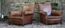 Devonshire Pair of Leather Club Chairs