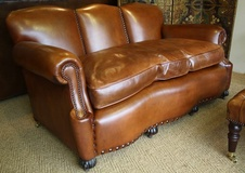 Edwardian Hump Backed Leather Sofa